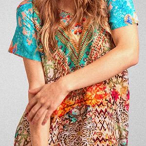Silk V-cold shoulder dress Arizona 9
