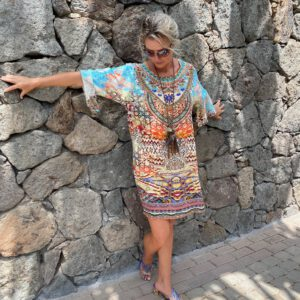 Silk ´Frill´short kaftan Arizona 10