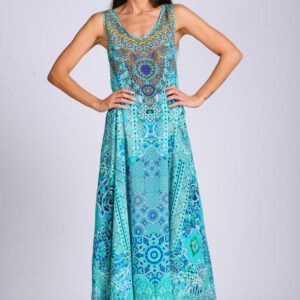 Silk ´Flowing maxi´dress Atlantis 17