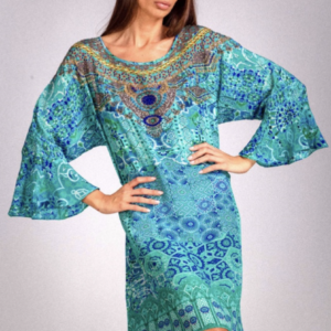 Silk ´Frill´short kaftan Atlantis 9
