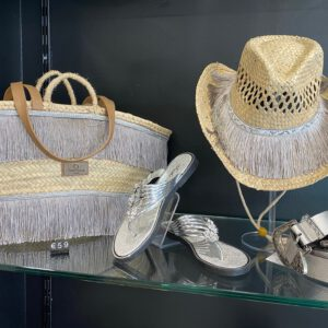 Handmade beach basket with hat ´Snake´ 12